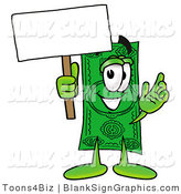 Illustration of a Happy Cash Holding a Blank Sign and Waving by Toons4Biz