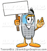 Illustration of a Happy Cell Phone Holding a Blank Sign and Waving by Toons4Biz