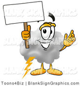 Illustration of a Happy Cloud Holding a Blank Sign and Waving by Toons4Biz