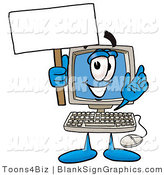 Illustration of a Happy Computer Holding a Blank Sign and Waving by Toons4Biz