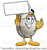 Illustration of a Happy Computer Mouse Holding a Blank Sign and Waving by Toons4Biz