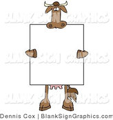 Illustration of a Happy Cow Holding a Blank Sign over His Body by Djart
