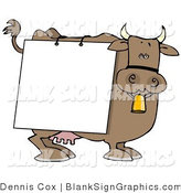 Illustration of a Happy Cow Wearing a Blank Sign over His Body by Djart