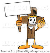 Illustration of a Happy Cross Holding a Blank Sign and Waving by Toons4Biz