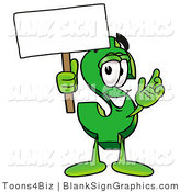 Illustration of a Happy Dollar Symbol Holding a Blank Sign and Waving by Toons4Biz
