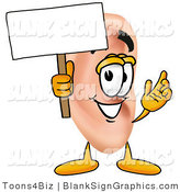 Illustration of a Happy Ear Holding a Blank Sign and Waving by Toons4Biz