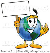 Illustration of a Happy Earth Holding a Blank Sign and Waving by Toons4Biz