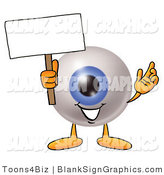 Illustration of a Happy Eyeball Holding a Blank Sign and Waving by Toons4Biz