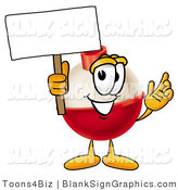 Illustration of a Happy Fishing Bobber Holding a Blank Sign and Waving by Toons4Biz