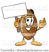 Illustration of a Happy Football Holding a Blank Sign and Waving by Toons4Biz