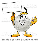 Illustration of a Happy Golf Ball Holding a Blank Sign and Waving by Toons4Biz