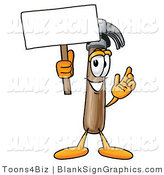 Illustration of a Happy Hammer Holding a Blank Sign and Waving by Toons4Biz
