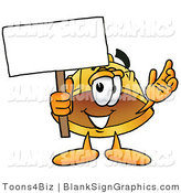 Illustration of a Happy Hardhat Holding a Blank Sign and Waving by Toons4Biz