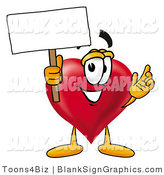Illustration of a Happy Heart Holding a Blank Sign and Waving by Toons4Biz