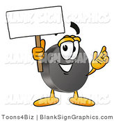 Illustration of a Happy Hockey Puck Holding a Blank Sign and Waving by Toons4Biz