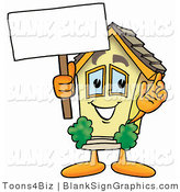 Illustration of a Happy House Holding a Blank Sign and Waving by Toons4Biz