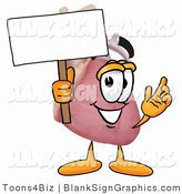 Illustration of a Happy Human Heart Holding a Blank Sign and Waving by Toons4Biz