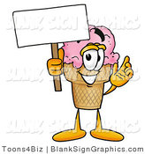 Illustration of a Happy Ice Cream Cone Holding a Blank Sign and Waving by Toons4Biz
