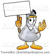 Illustration of a Happy Laboratory Flask Holding a Blank Sign and Waving by Toons4Biz