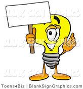 Illustration of a Happy Light Bulb Holding a Blank Sign and Waving by Toons4Biz