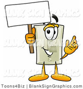 Illustration of a Happy Light Switch Holding a Blank Sign and Waving by Toons4Biz