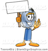Illustration of a Happy Magnifying Glass Holding a Blank Sign and Waving by Toons4Biz