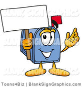 Illustration of a Happy Mailbox Holding a Blank Sign and Waving by Toons4Biz
