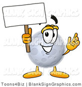 Illustration of a Happy Moon Holding a Blank Sign and Waving by Toons4Biz