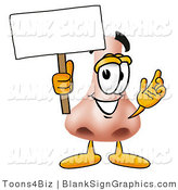 Illustration of a Happy Nose Holding a Blank Sign and Waving by Toons4Biz