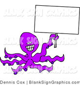 Illustration of a Happy Octopus Holding a Blank Sign by Djart