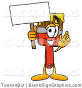Illustration of a Happy Paintbrush Holding a Blank Sign and Waving by Toons4Biz