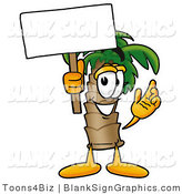 Illustration of a Happy Palm Tree Holding a Blank Sign and Waving by Toons4Biz