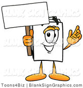 Illustration of a Happy Paper Holding a Blank Sign and Waving by Toons4Biz