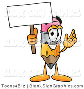 Illustration of a Happy Pencil Holding a Blank Sign and Waving by Toons4Biz