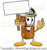 Illustration of a Happy Pill Bottle Holding a Blank Sign and Waving by Toons4Biz