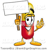 Illustration of a Happy Pill Holding a Blank Sign and Waving by Toons4Biz
