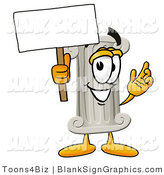 Illustration of a Happy Pillar Holding a Blank Sign and Waving by Toons4Biz