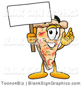 Illustration of a Happy Pizza Holding a Blank Sign and Waving by Toons4Biz