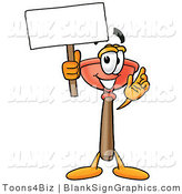Illustration of a Happy Plunger Holding a Blank Sign and Waving by Toons4Biz