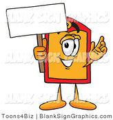 Illustration of a Happy Price Tag Holding a Blank Sign and Waving by Toons4Biz