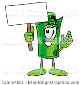 Illustration of a Happy Rolled Money Holding a Blank Sign and Waving by Toons4Biz