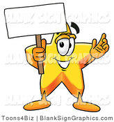Illustration of a Happy Star Holding a Blank Sign and Waving by Toons4Biz