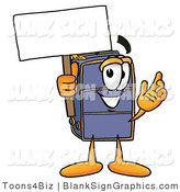 Illustration of a Happy Suitcase Holding a Blank Sign and Waving by Toons4Biz