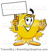 Illustration of a Happy Sun Holding a Blank Sign and Waving by Toons4Biz