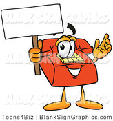 Illustration of a Happy Telephone Holding a Blank Sign and Waving by Toons4Biz