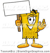 Illustration of a Happy Ticket Holding a Blank Sign and Waving by Toons4Biz