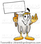 Illustration of a Happy Tooth Holding a Blank Sign and Waving by Toons4Biz