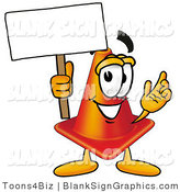 Illustration of a Happy Traffic Cone Holding a Blank Sign and Waving by Toons4Biz