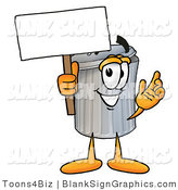 Illustration of a Happy Trash Can Holding a Blank Sign and Waving by Toons4Biz