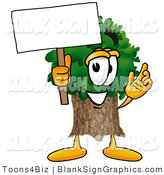 Illustration of a Happy Tree Holding a Blank Sign and Waving by Toons4Biz